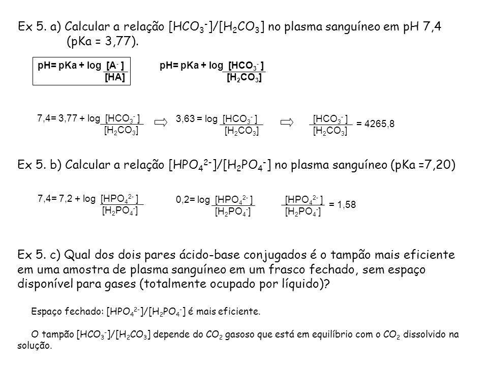 Ex 5. a) Calcular a relação [HCO3-]/[H2CO3] no plasma sanguíneo em pH 7,4 (pKa = 3,77).